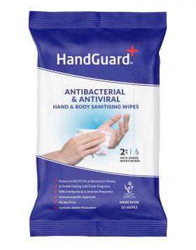 HandGuard Antibacterial & Antiviral Hand & Body Sanitising Wipes